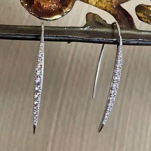 QVC Diamonique Linear Curved Bar Earrings